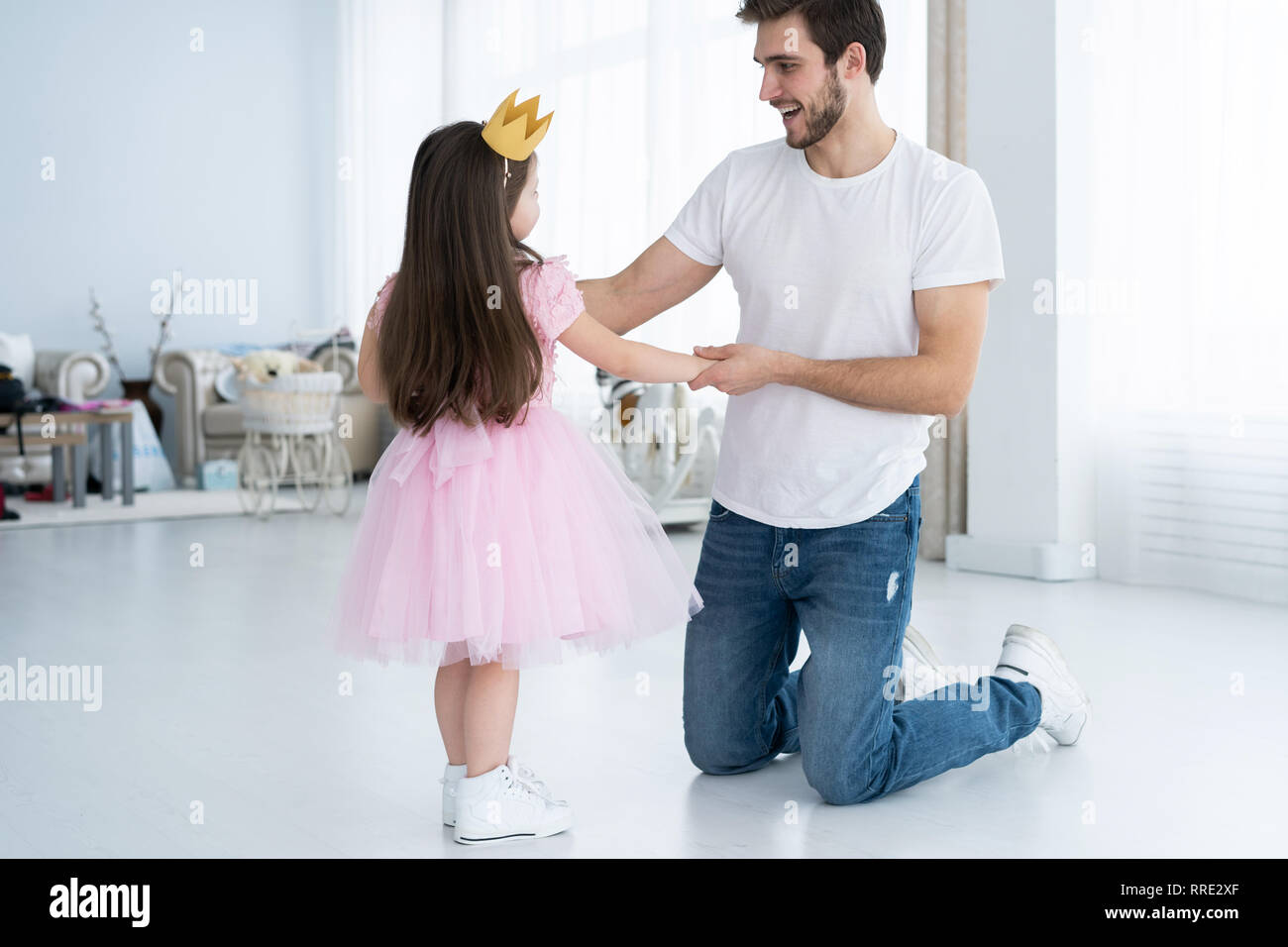 Tempting Very young little girl loves daddy are