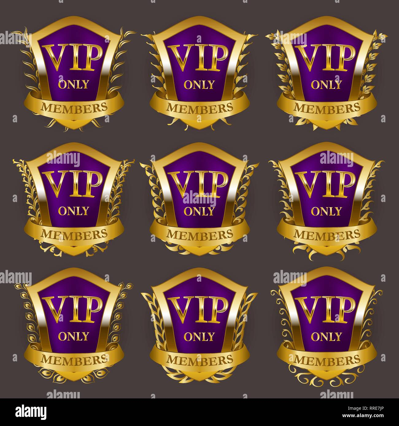 Set of gold vip monograms for graphic design on gray background. - Stock Vector