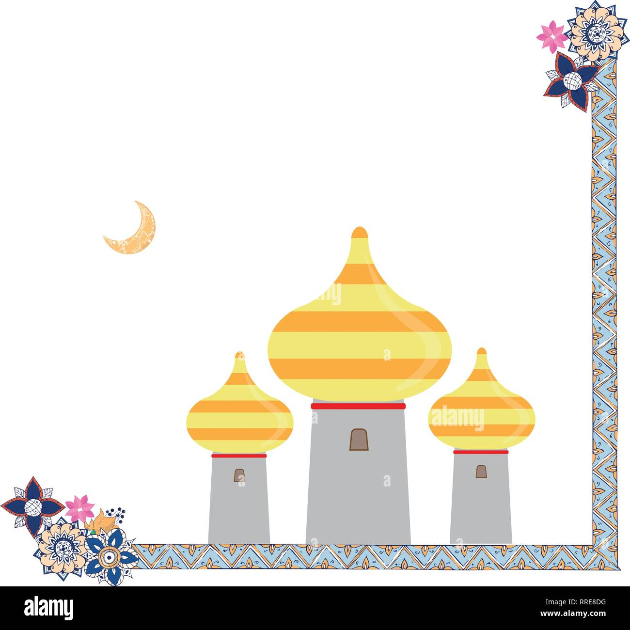 eastern towers art and line with flowers frame illustration on white background - Stock Image