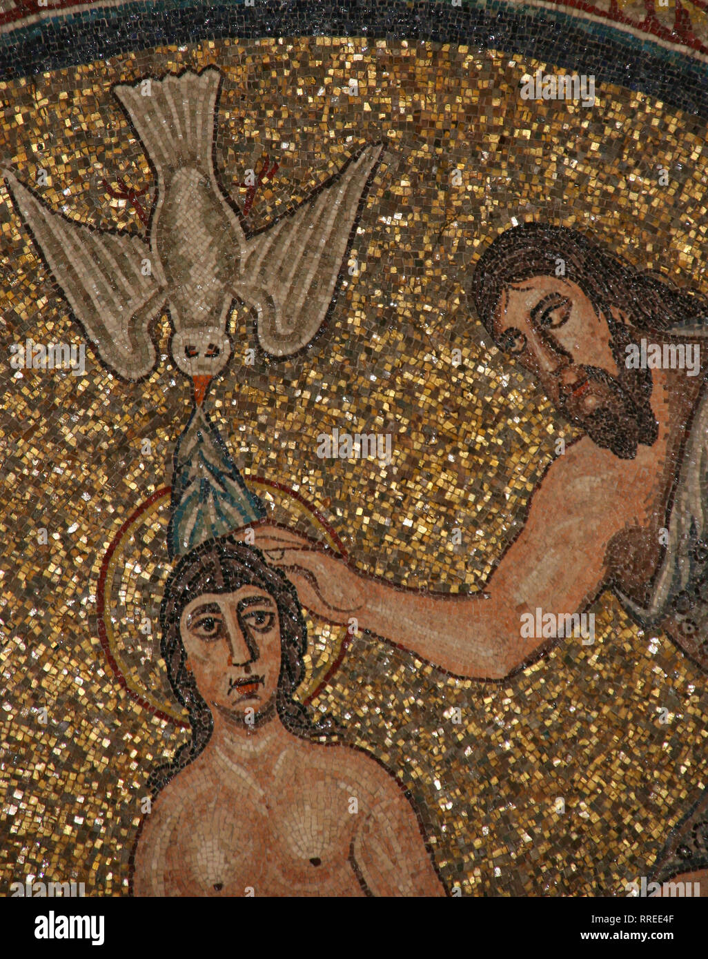 Italy. Ravenna. Arian Baptistery. Erected by Theodoric the Great 5th-6th century. Baptism of Jesus. Mosaic. Detail. Early Christians. - Stock Image