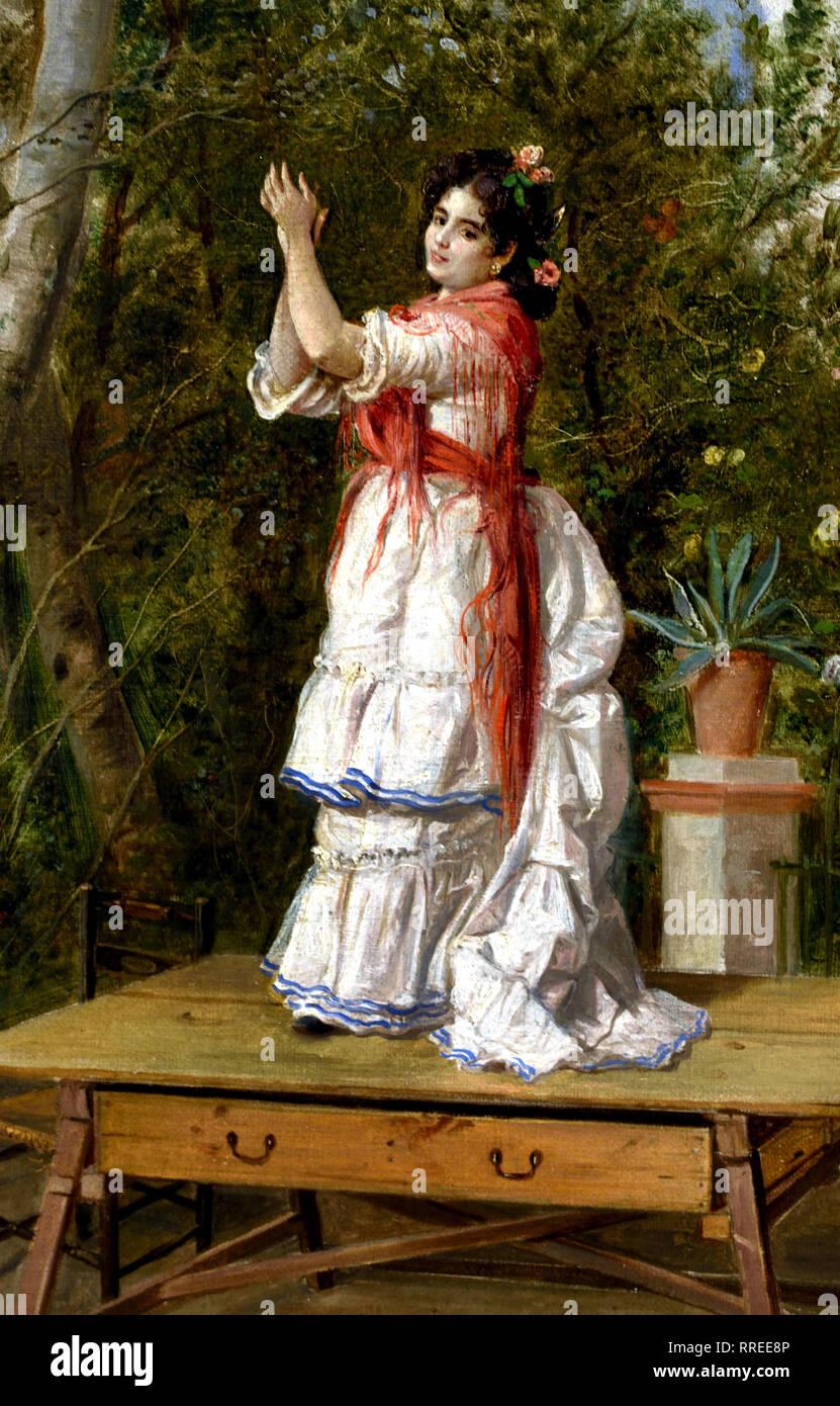 Dancing 1889, Manuel Cabral Aguado Bejarano, Spain, Spanish. - Stock Image