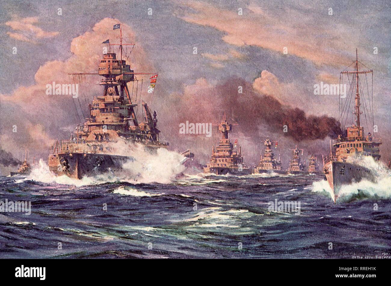 Fleet of American Battleships at Sea. - Stock Image