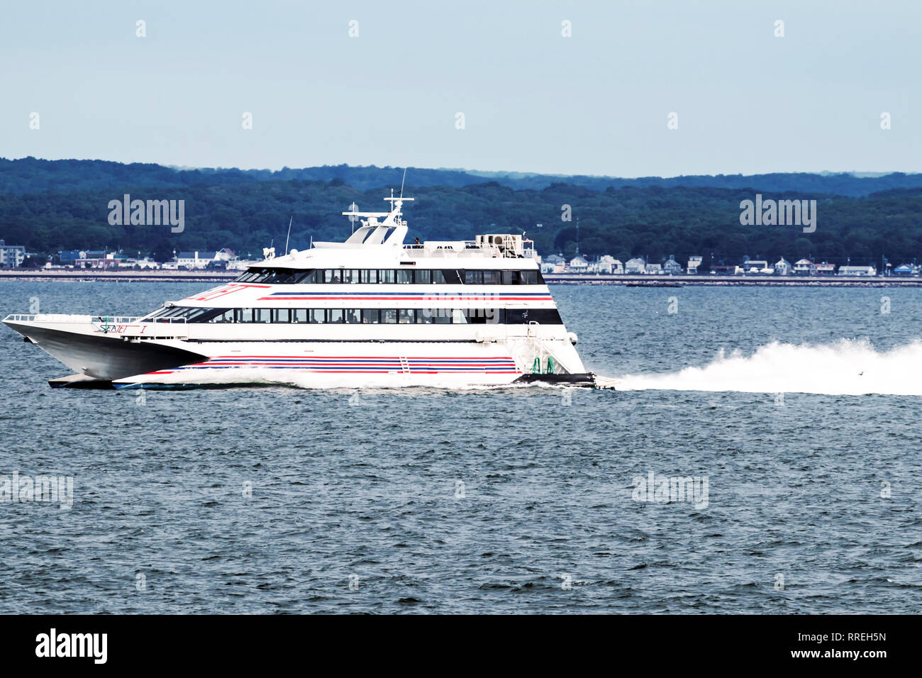 New London, Connecticut, USA – 27 July 2017: The SEA JET is a high-speed passenger-only service, crossing between New London, CT and Orient Point, NY  - Stock Image