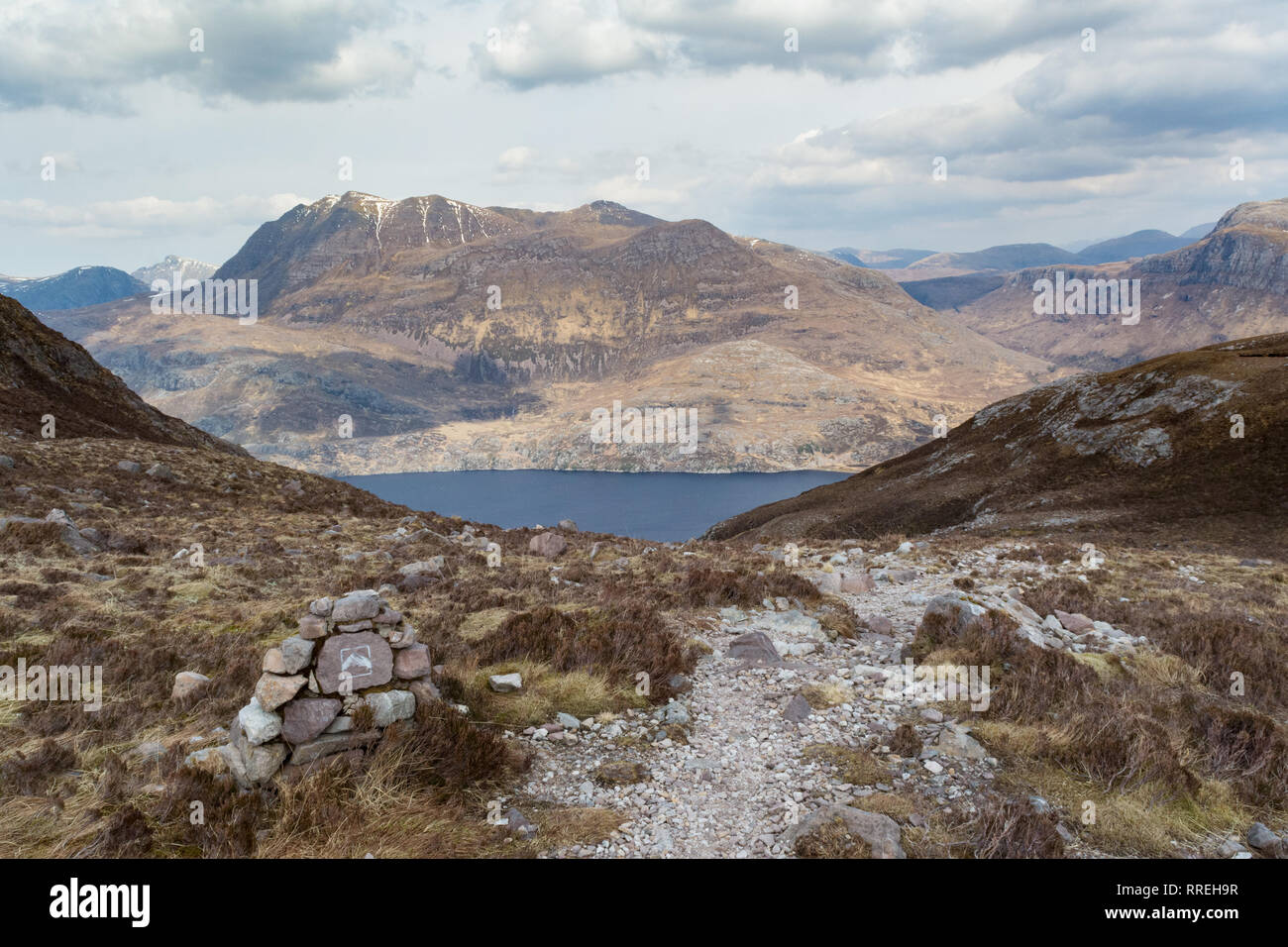Siloch mountain and Loch Maree view from Beinn Eighe Mountain Trail, in the Torridon area of Wester Ross, North West Highlands, Scotland, UK - Stock Image
