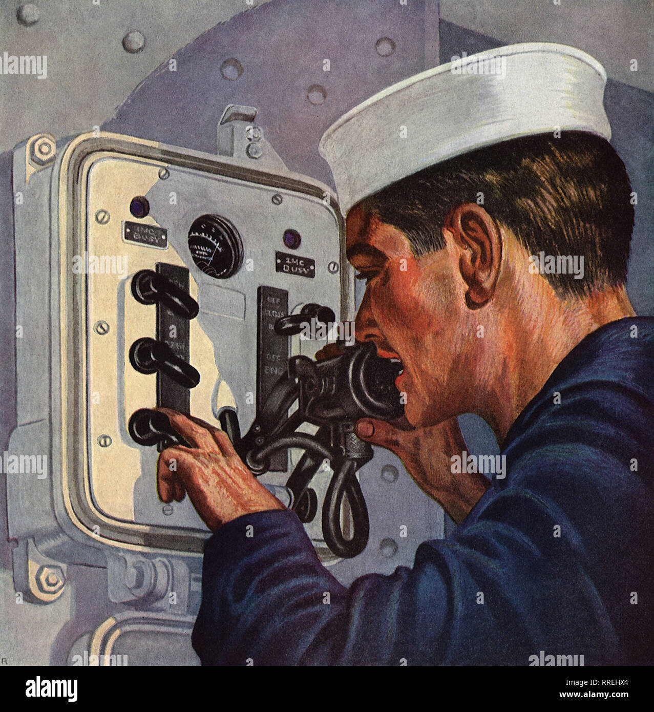 Sailor on Loud-speaking Telephone. - Stock Image