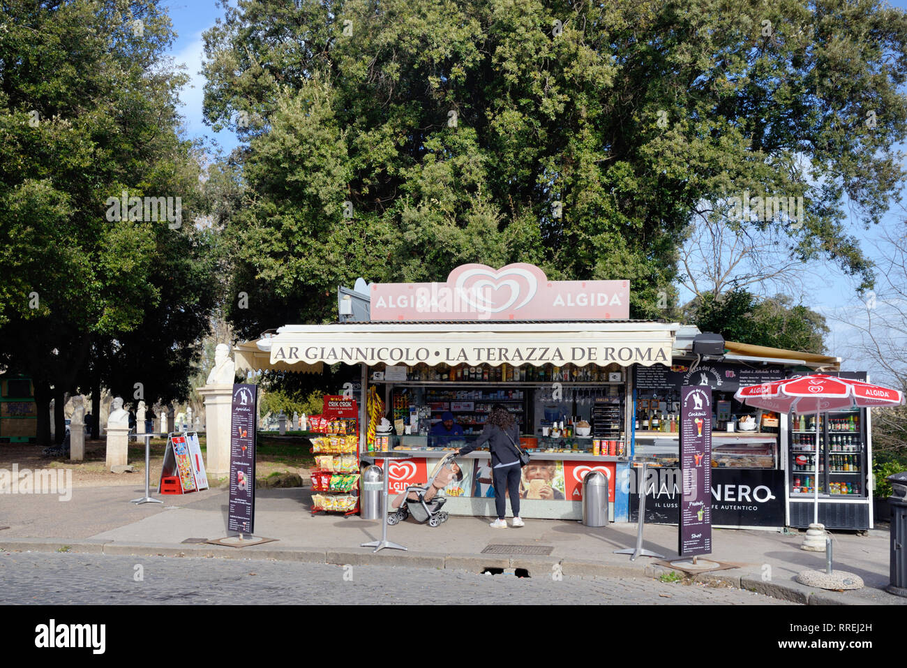 Snack Bar or Kiosk in the Janiculum Park on Janiculum Hill Rome Italy - Stock Image