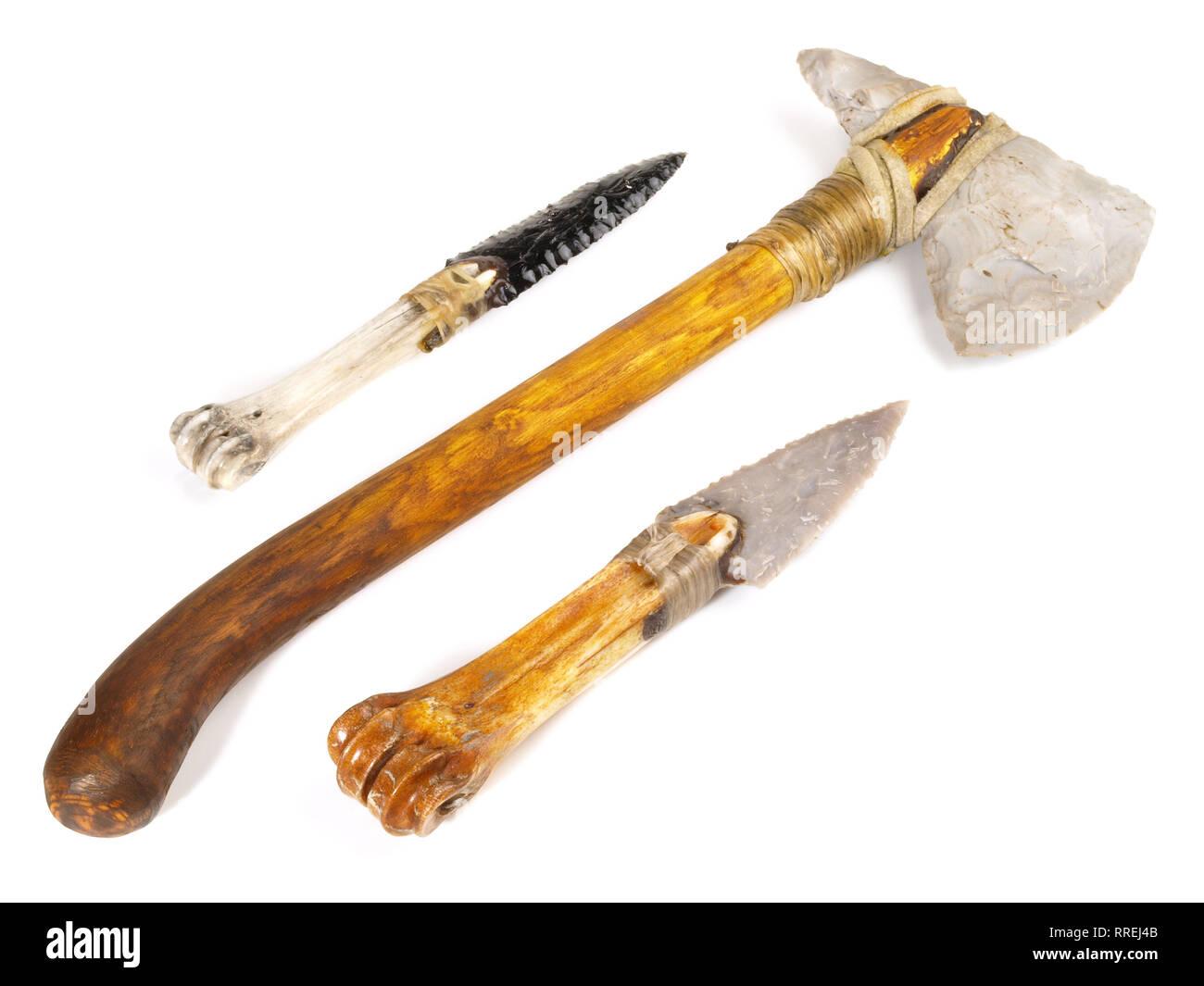 Stone Age Tools on white Background - Stock Image