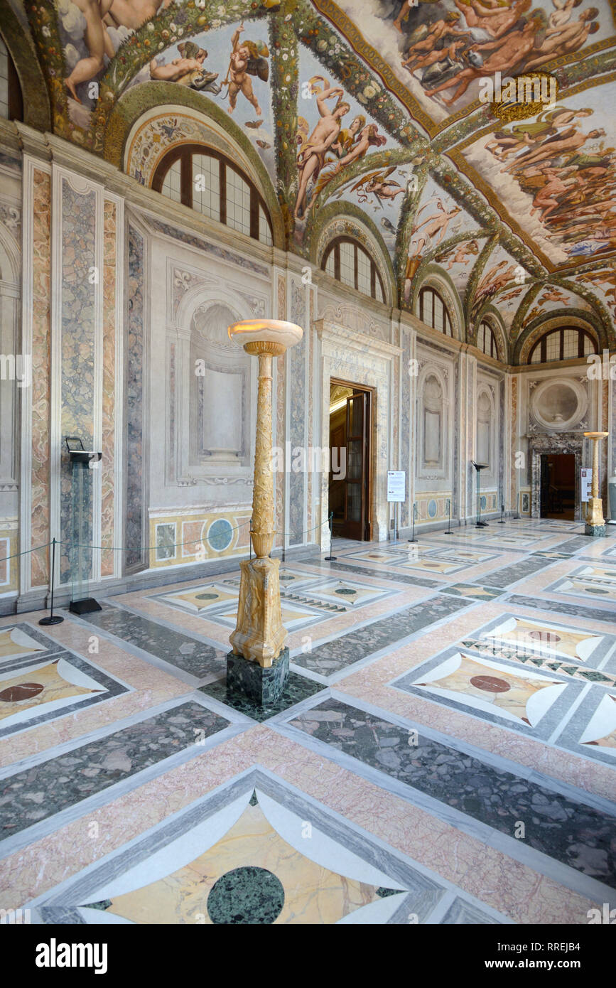 Interior or Loggia of Cupid & Psyche (1518) (Painted by Raphaël) in the Renaissance Villa Farnesina, built 1506-1510, Trastevere Rome Italy Stock Photo