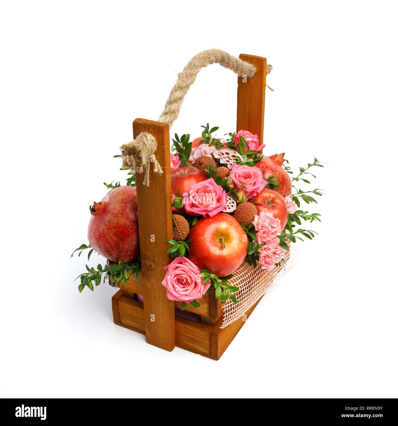 Unique Gift Wooden Box With Flowers And Fruits Isolated On