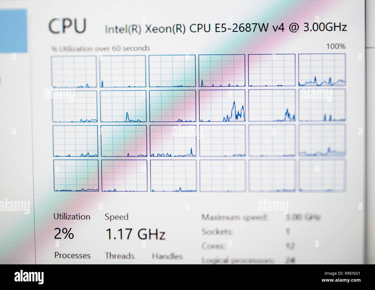 Paris France - Oct 24 2018: CPU load for Intel Xeon E5-2687W