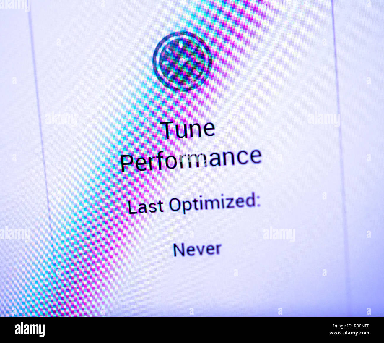 Paris, France - oct 24, 2018: Tune Performance sign on the computer display from the Dell Precision optimiser workstation software - Stock Image