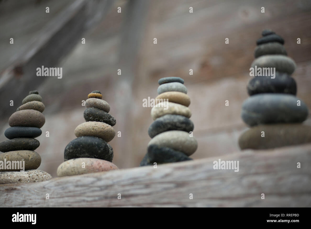 Stacked stones at the beach, Spiritual concept - Stock Image
