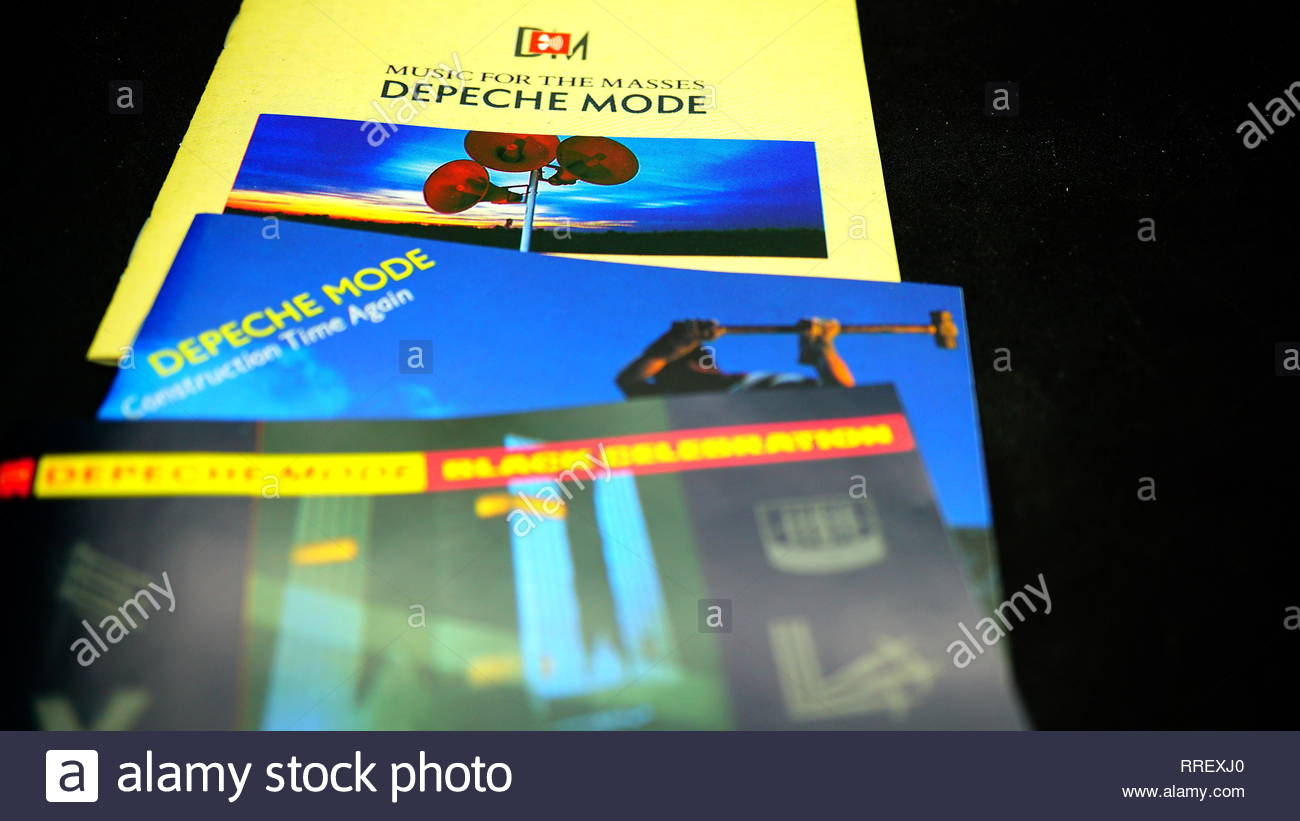 Rome, February 22, 2019: Three 80s albums by the English pop band DEPECHE MODE.Pioneers of the Synth-pop have sold more than 100 million records world - Stock Image