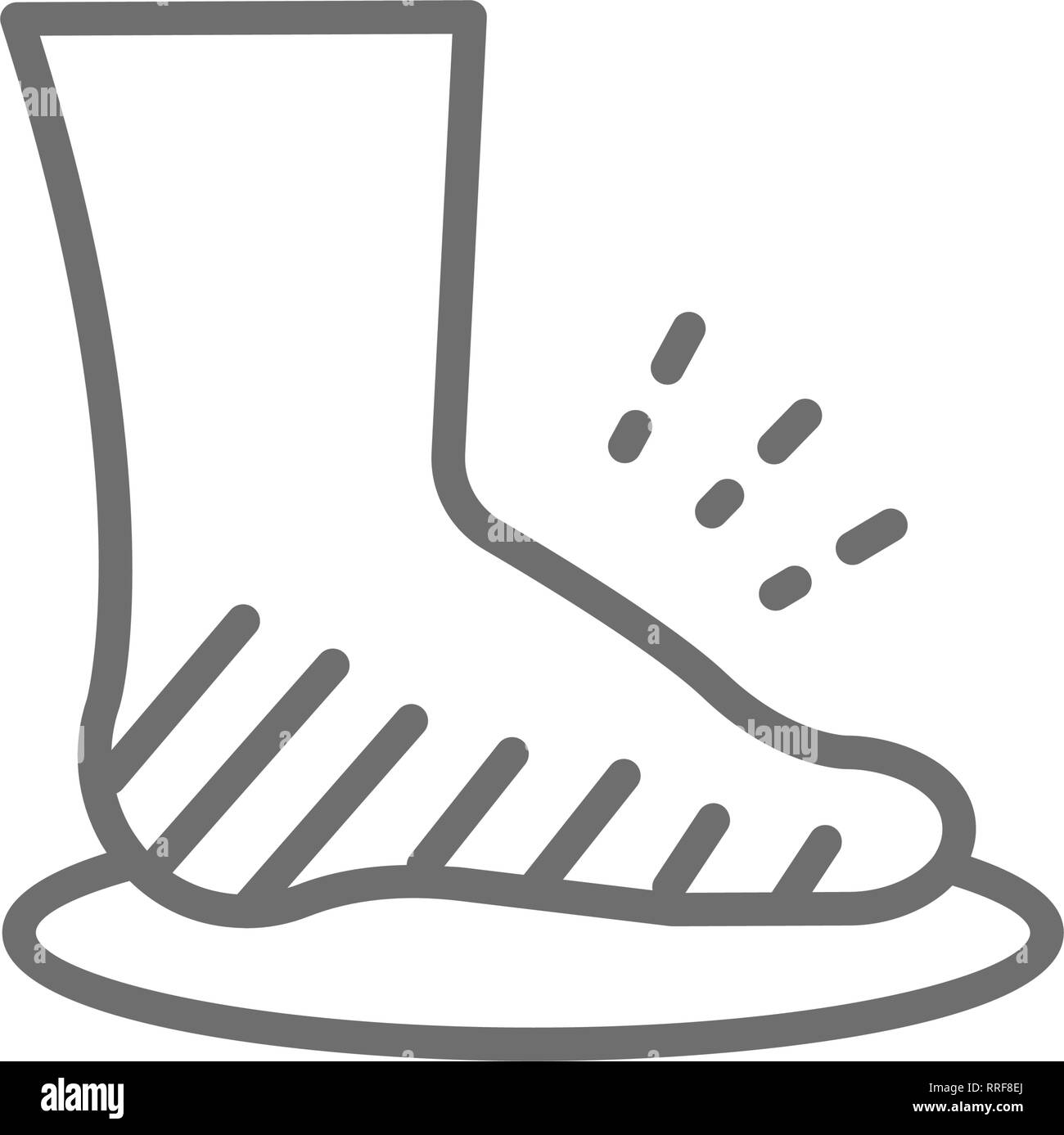 Leg swelling, edema, obesity, fat foot line icon. - Stock Image