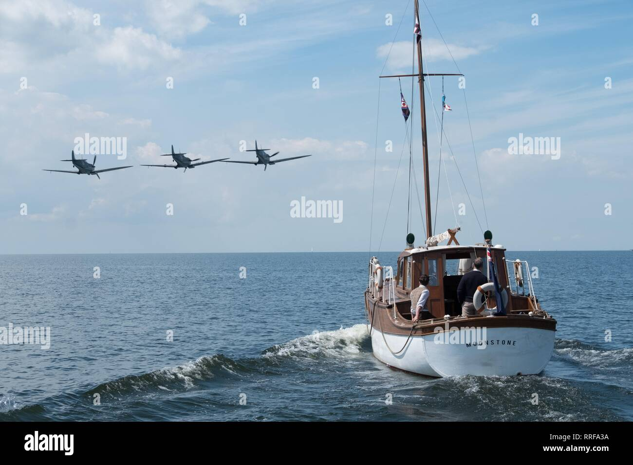 DUNKIRK, PLANES FLY PAST SAILING BOAT, 2017 - Stock Image