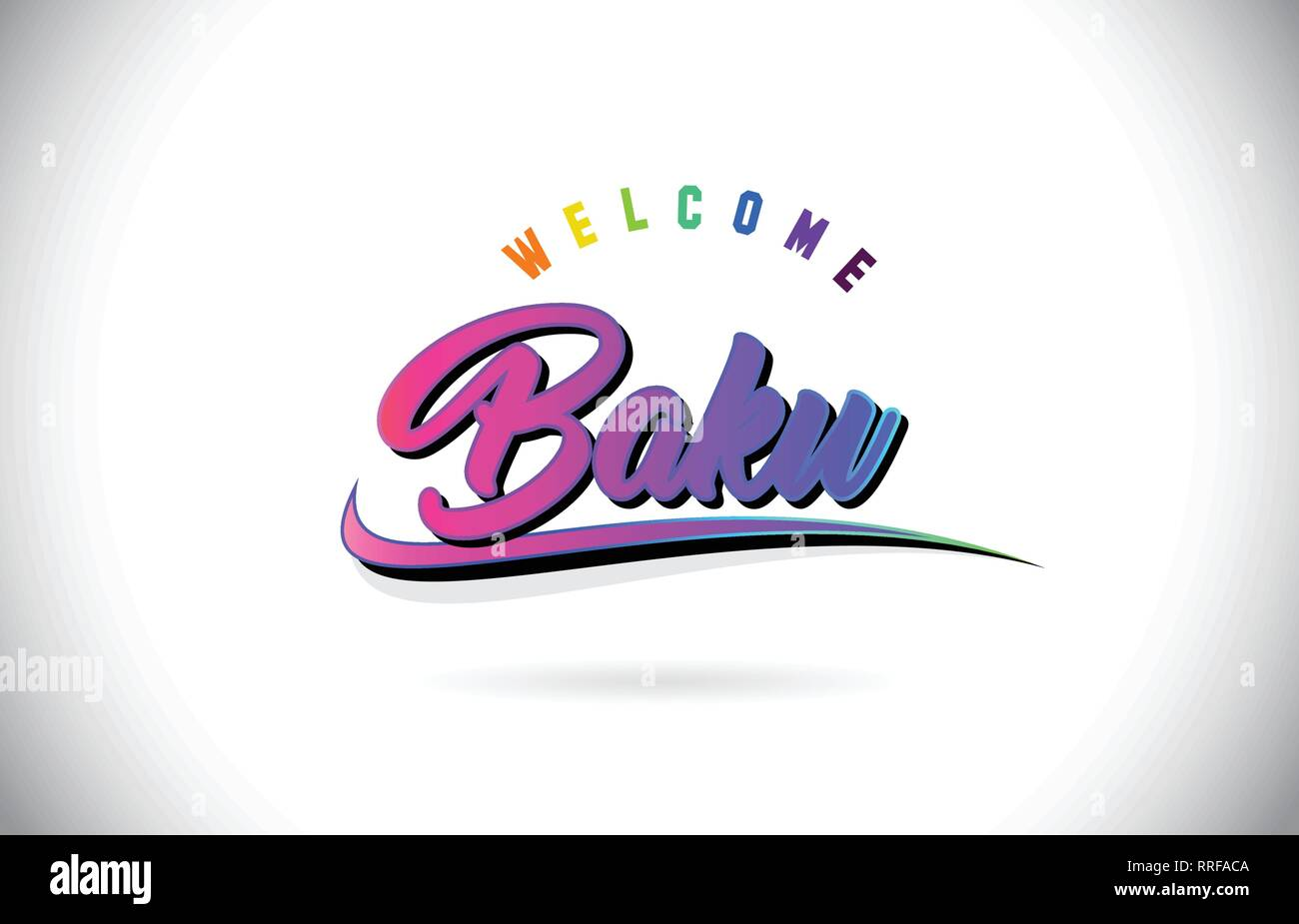 Baku Welcome To Word Text with Creative Purple Pink Handwritten Font and Swoosh Shape Design Vector Illustration. - Stock Vector