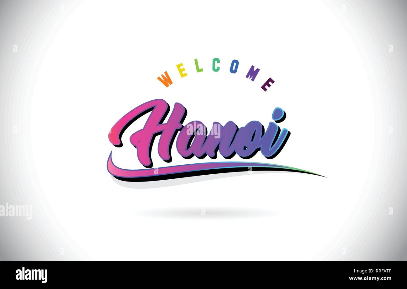 Hanoi Welcome To Word Text with Creative Purple Pink Handwritten Font and Swoosh Shape Design Vector Illustration. - Stock Vector
