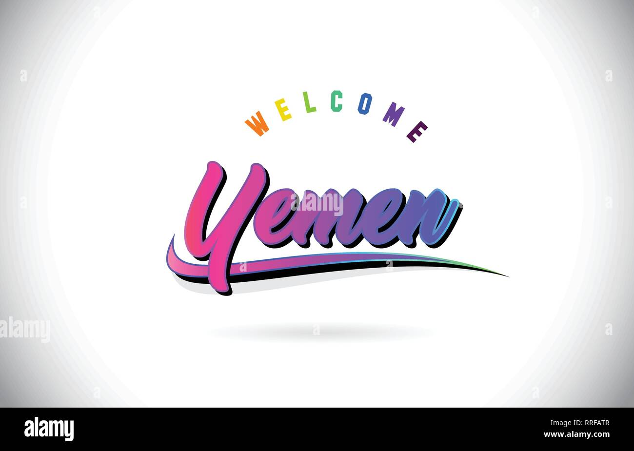 Yemen Welcome To Word Text with Creative Purple Pink Handwritten Font and Swoosh Shape Design Vector Illustration. - Stock Vector