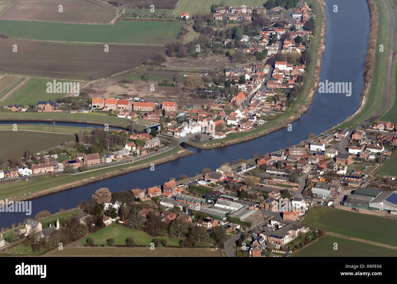 aerial view of East and West Stockwith villages, either side of the River Trent where it joins the River Idle, Nottinghamshire Stock Photo