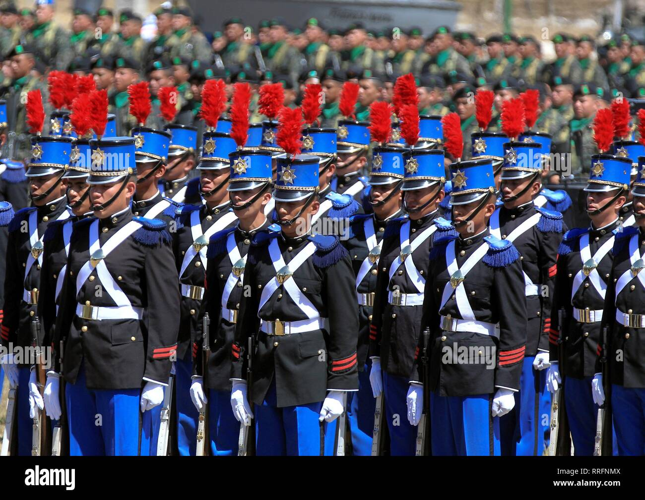 Tegucigalpa, Honduras. 25th Feb, 2019. Members of the Hondurean cadet school participate on the promotion of Honduras Armed Forces members, at military unity Aldea Mateo in Tegucigalpa, Honduras, 25 February 2019. Credit: Gustavo Amador/EFE/Alamy Live News - Stock Image