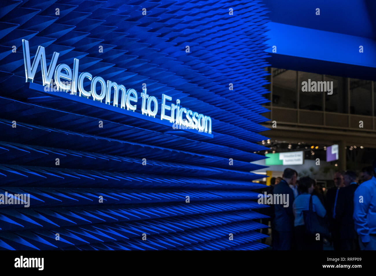 The Ericsson logo is seen during MWC 2019  The MWC2019