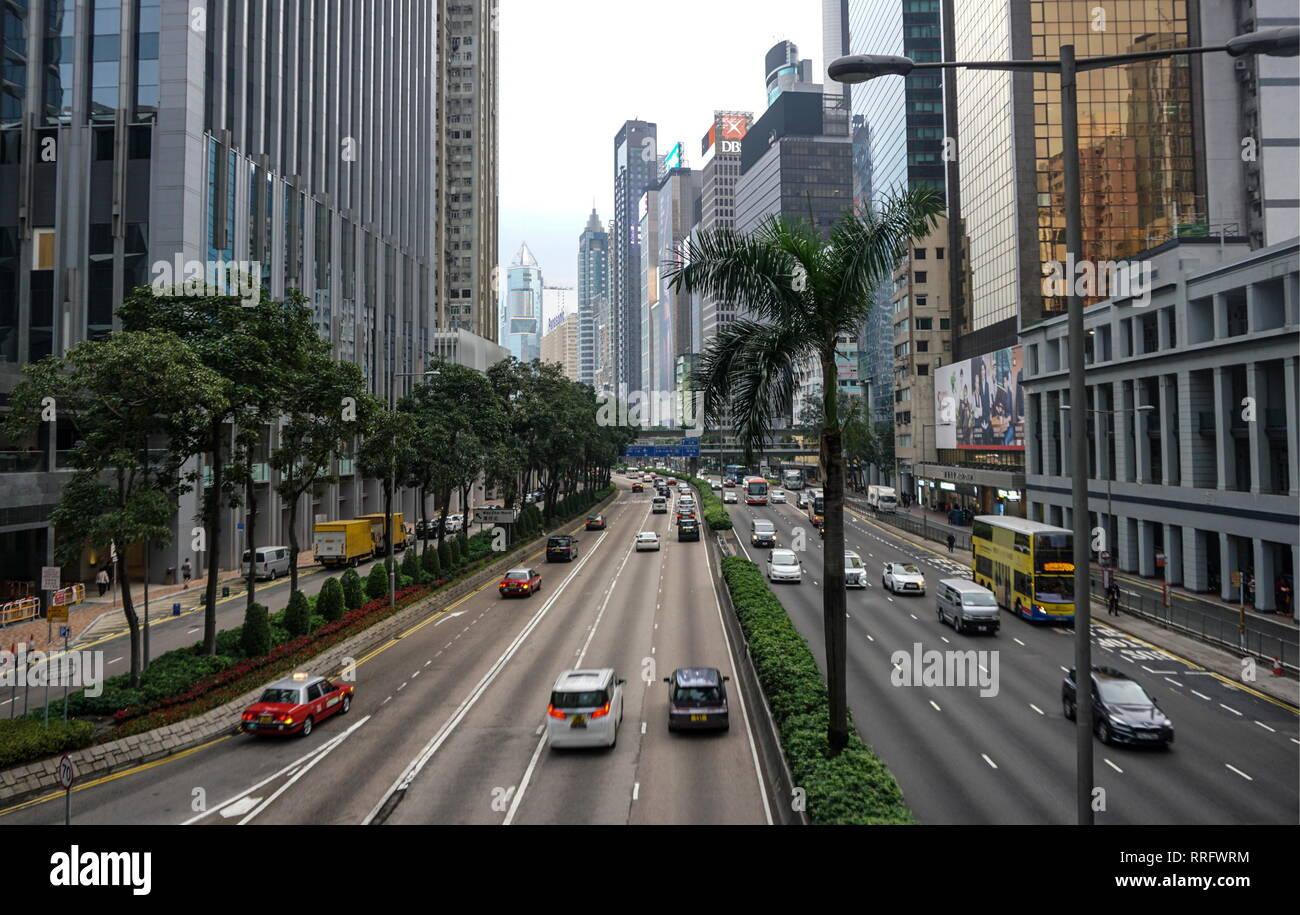 HONG KONG, CHINA - FEBRUARY 26, 2019: Gloucester Road, Wan Chai, Hong Kong Special Administrative Region (HKSAR) of the People's Republic of China. Alexander Shcherbak/TASS - Stock Image