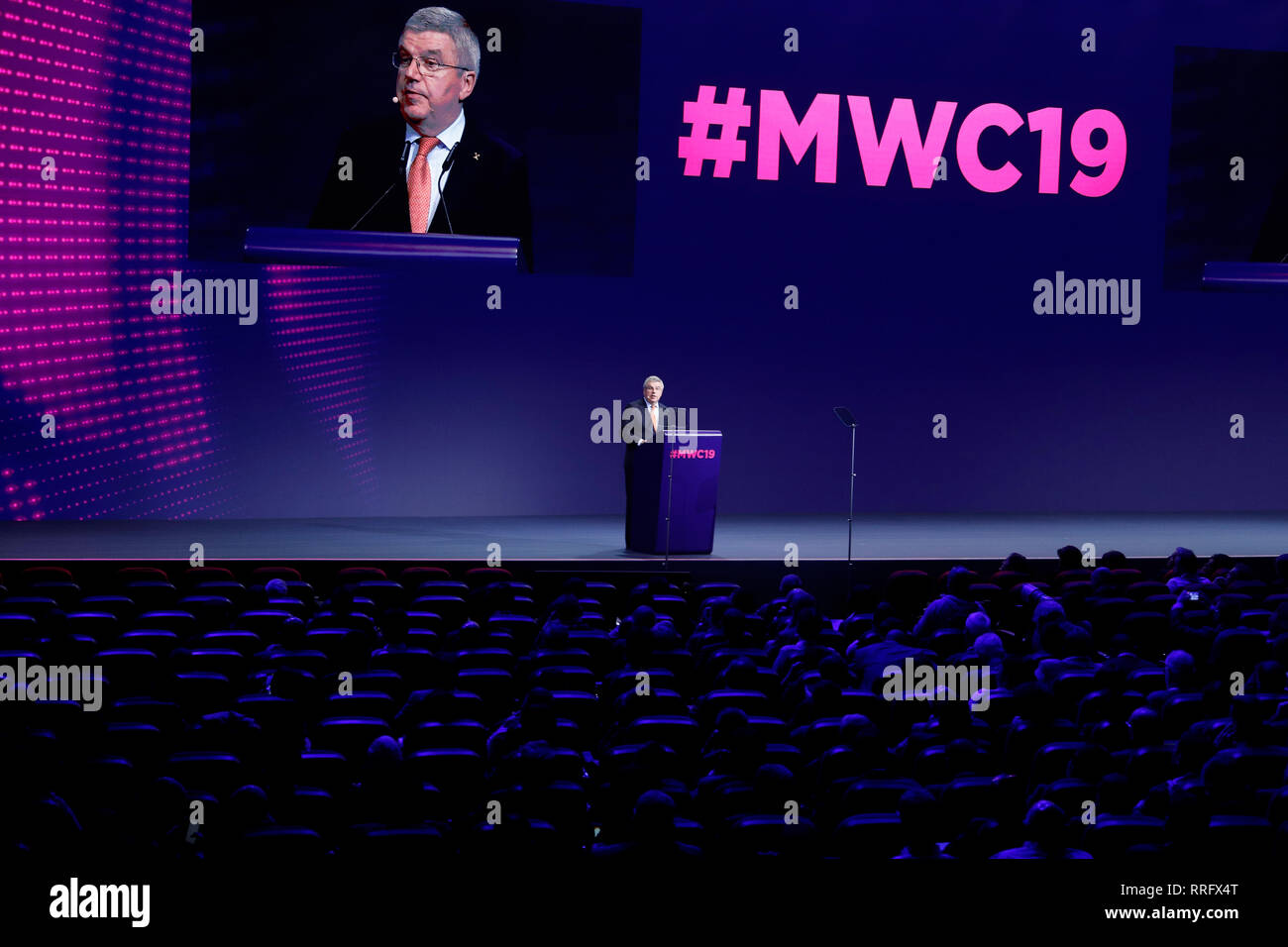 Barcelona, Spain. 26th Feb, 2019. Thomas Bach, President of the International Olympic Committee, speaks at an event at Mobile World Congress. Credit: Clara Margais/dpa/Alamy Live News Stock Photo