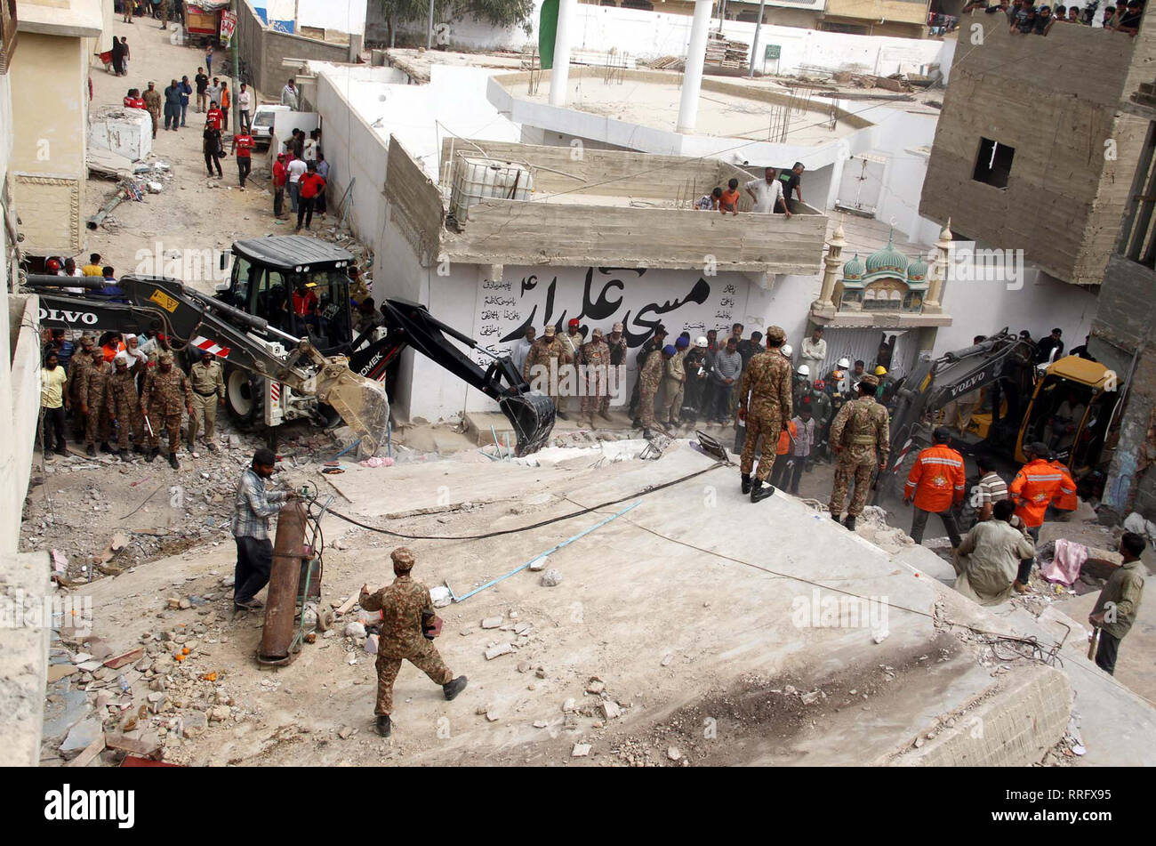 Pak Army officials are busy in rescue operation at the site of