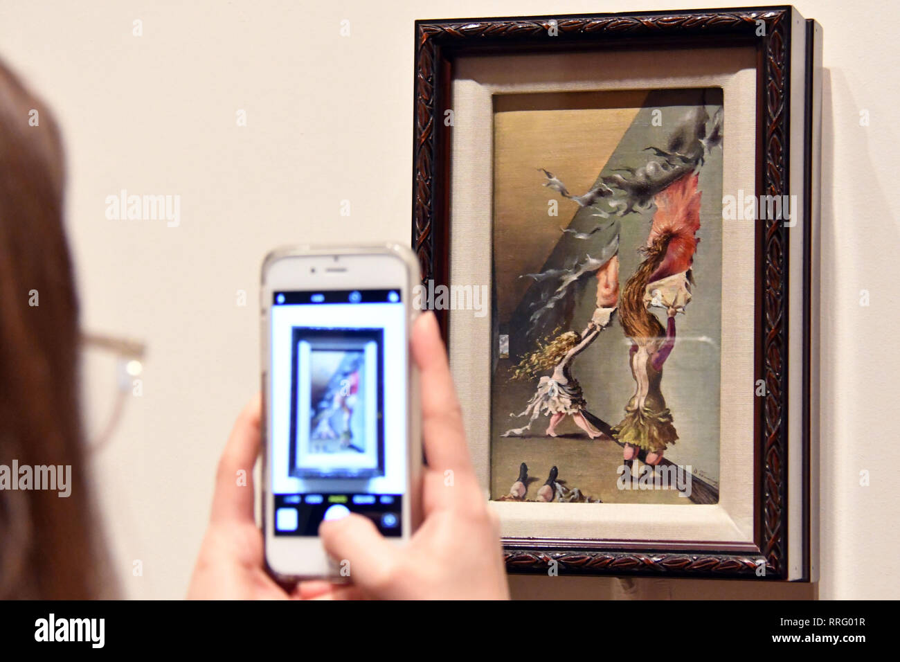 London, UK. 26th Feb, 2019. Tate Modern unveils major exhibition of pioneering artist Dorothea Tanning, the first large-scale exhibition of her work for 25 years. Children's Games, 1942 Credit: Nils Jorgensen/Alamy Live News Stock Photo