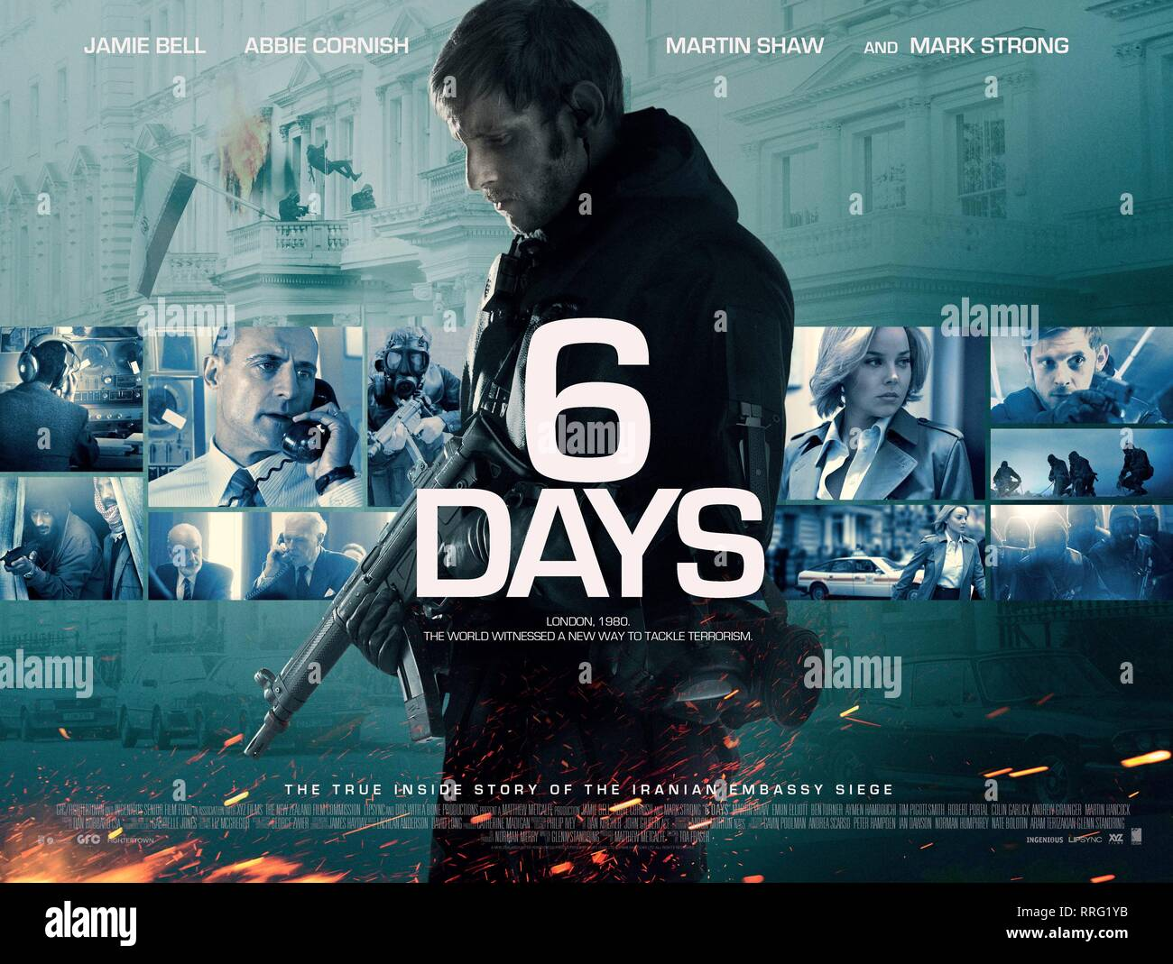6 DAYS, JAMIE BELL POSTER, 2017 Stock Photo
