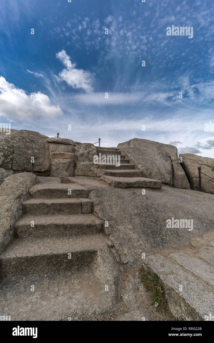 Celtic Vetton sacred space (Nemeton) Altar of sacrifices sculpted in granite rock known as Silla de Felipe II (Phillip II chair) in Guadarrama Mountai Stock Photo