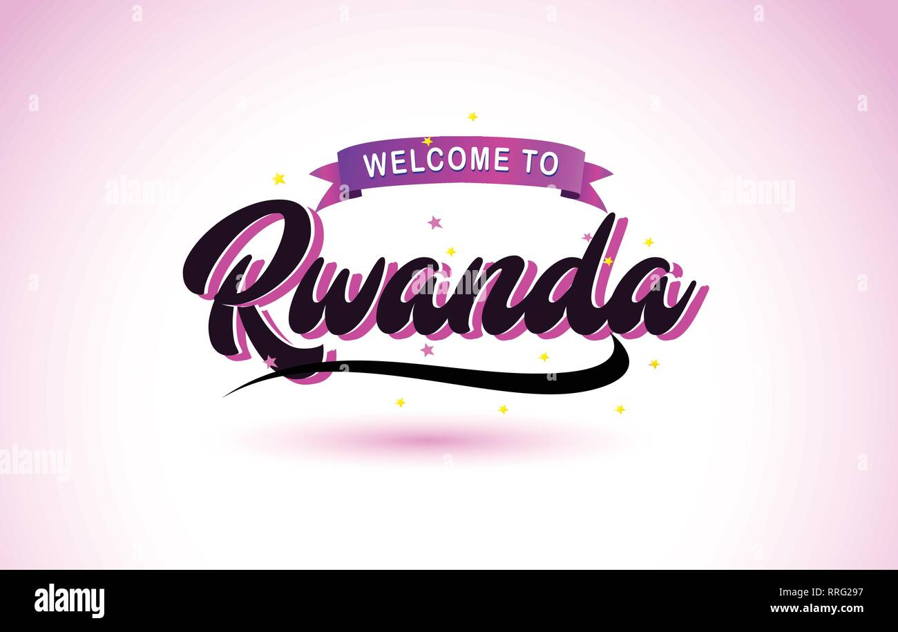 Rwanda Welcome to Creative Text Handwritten Font with Purple Pink Colors Design Vector Illustration. - Stock Vector