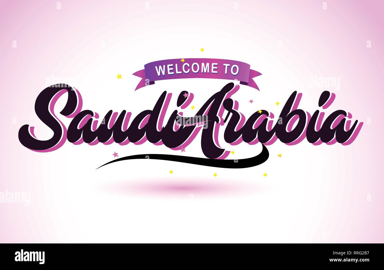 SaudiArabia Welcome to Creative Text Handwritten Font with Purple Pink Colors Design Vector Illustration. - Stock Image