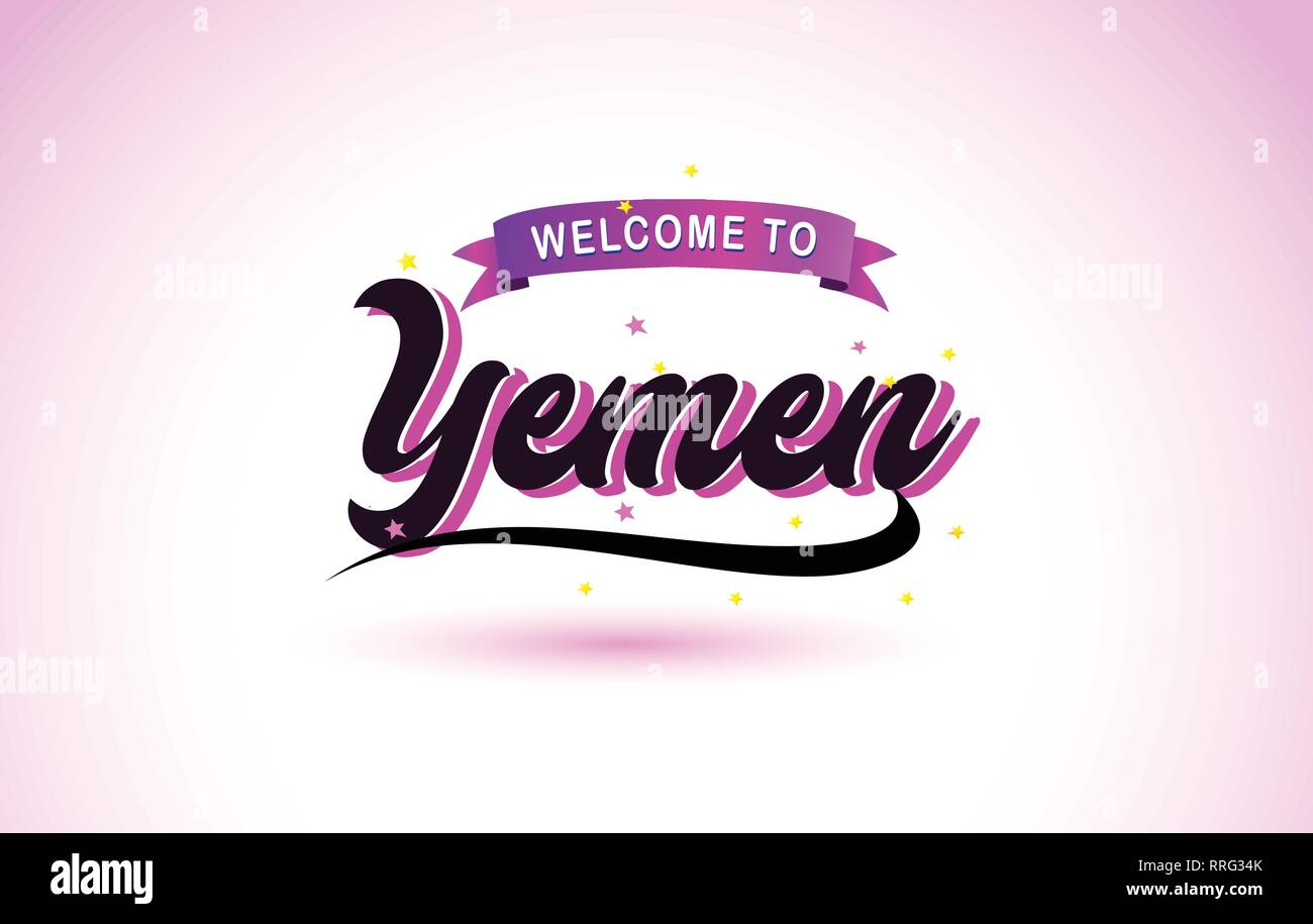 Yemen Welcome to Creative Text Handwritten Font with Purple Pink Colors Design Vector Illustration. - Stock Vector