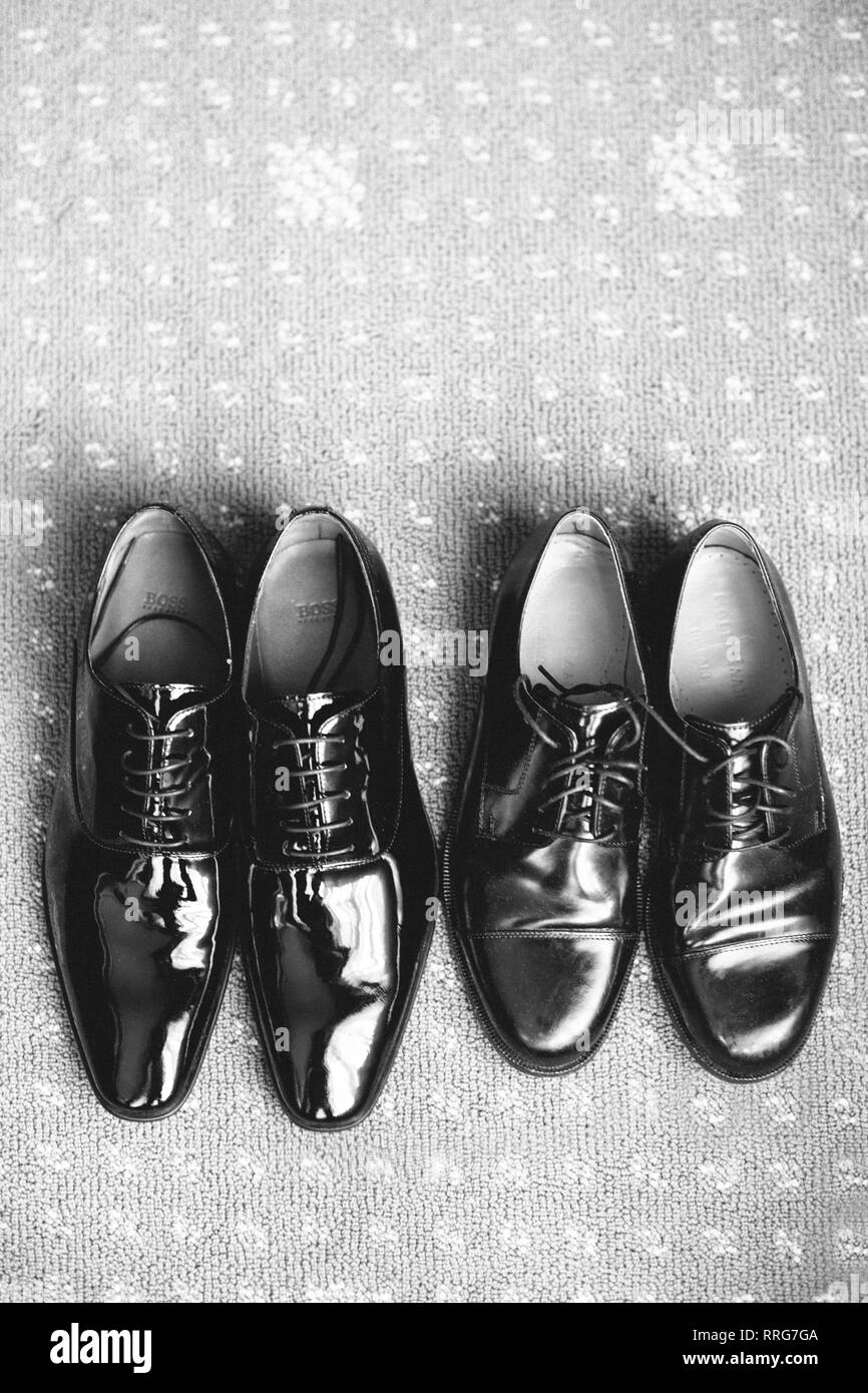 High Angle View of Two Pair of Men's Shoes Stock Photo