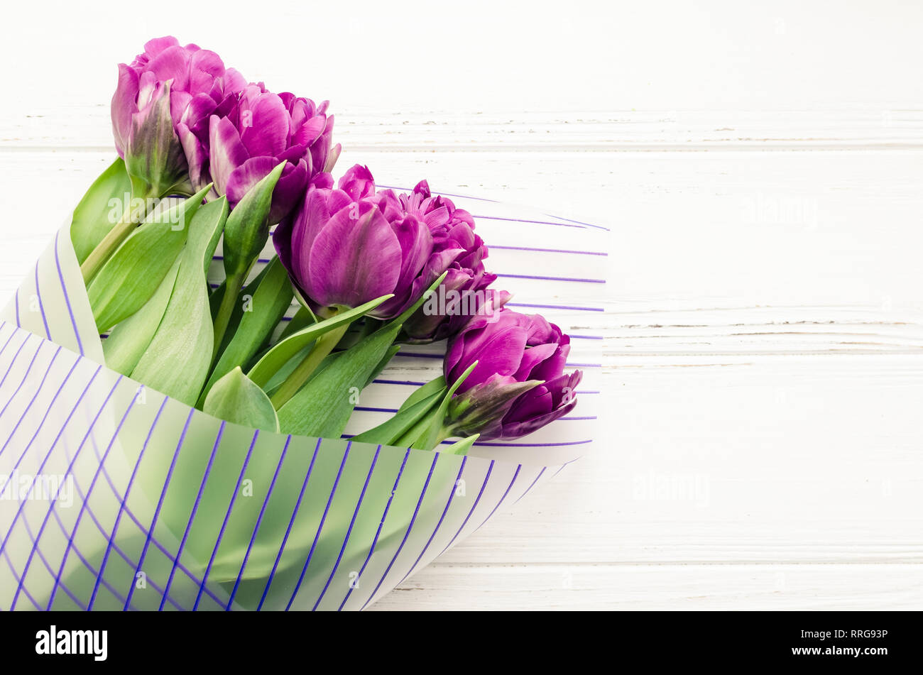d1c2f5acebbbe Ultraviolet tulip flowers on white shabby chic wooden background. Bouquet  of purple spring tulips. Happy Mother's Day. Valentine's greetings card. Int