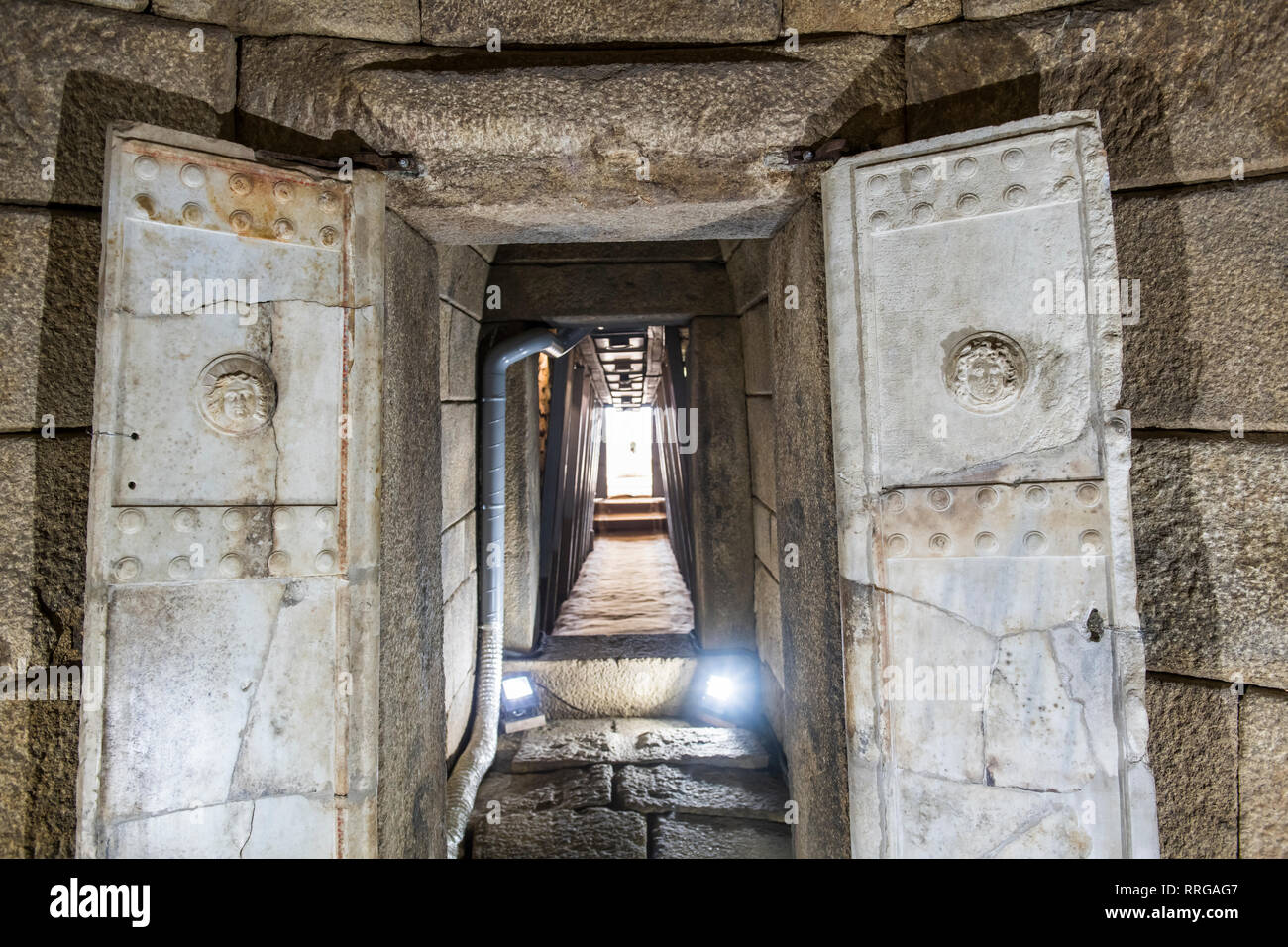 Thracian tomb in the Valley of the Thracian Rulers, Kazanak valley, Kazanlak, Bulgaria, Europe - Stock Image