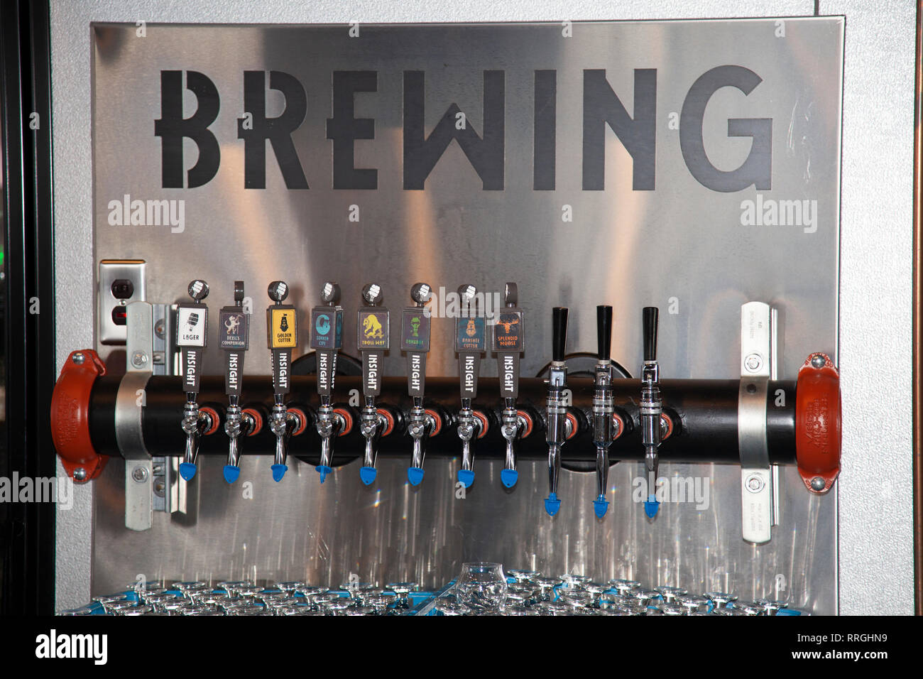 Taps of their different beers in the Insight Brewing Company taproom. Minneapolis Minnesota MN USA - Stock Image
