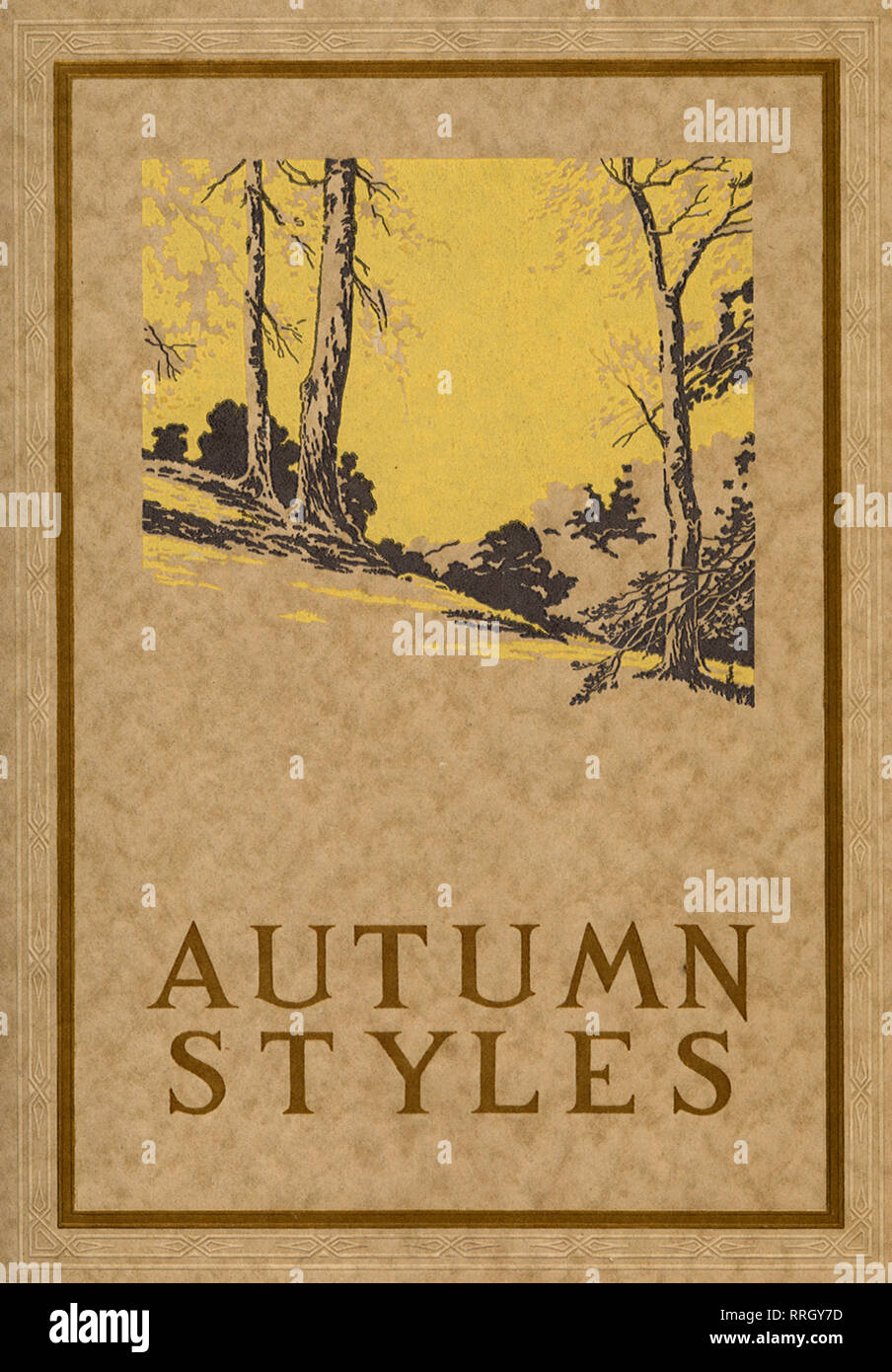 Ad with Border of Fall Trees on a Hill in Autumn. - Stock Image