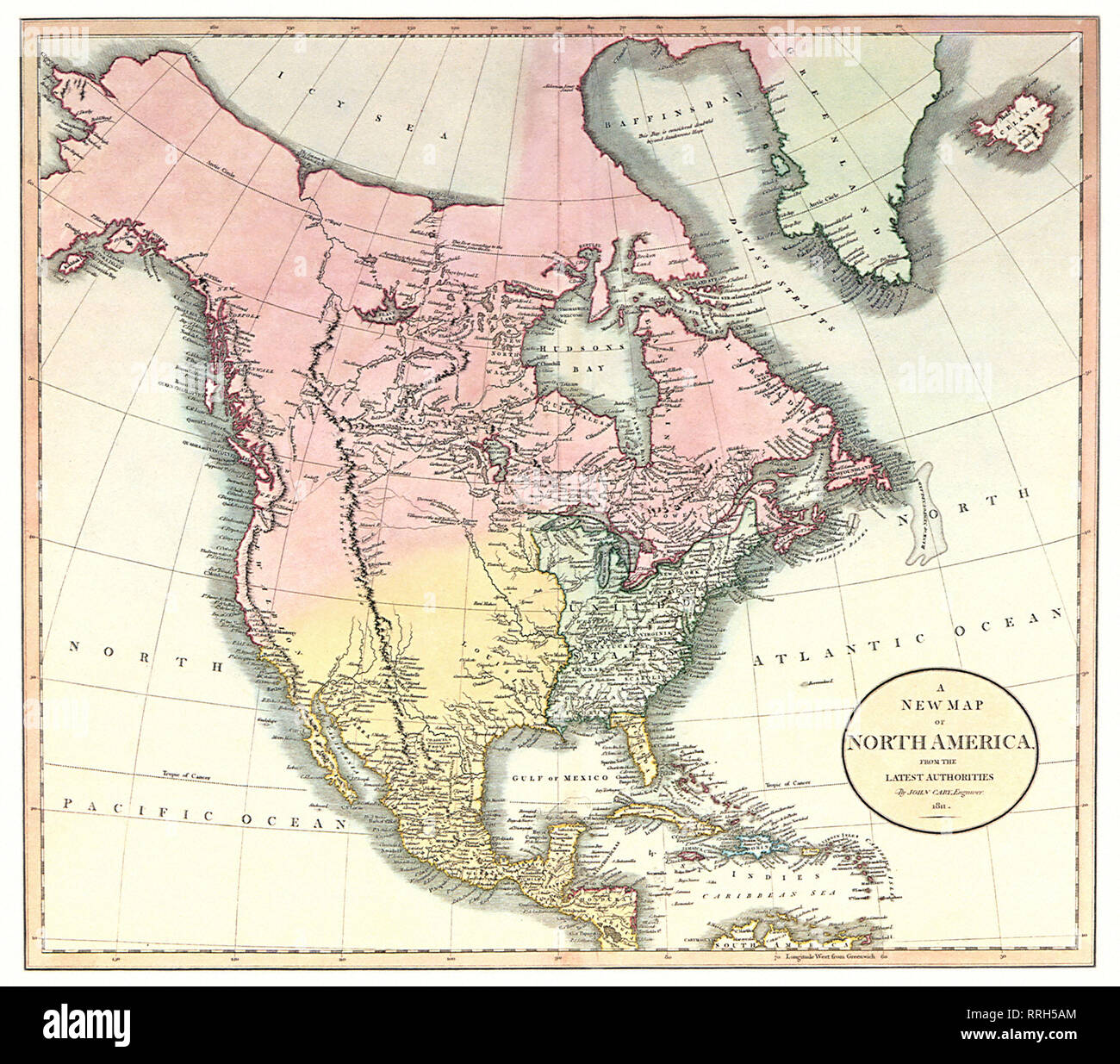 Map of North America 1811. - Stock Image