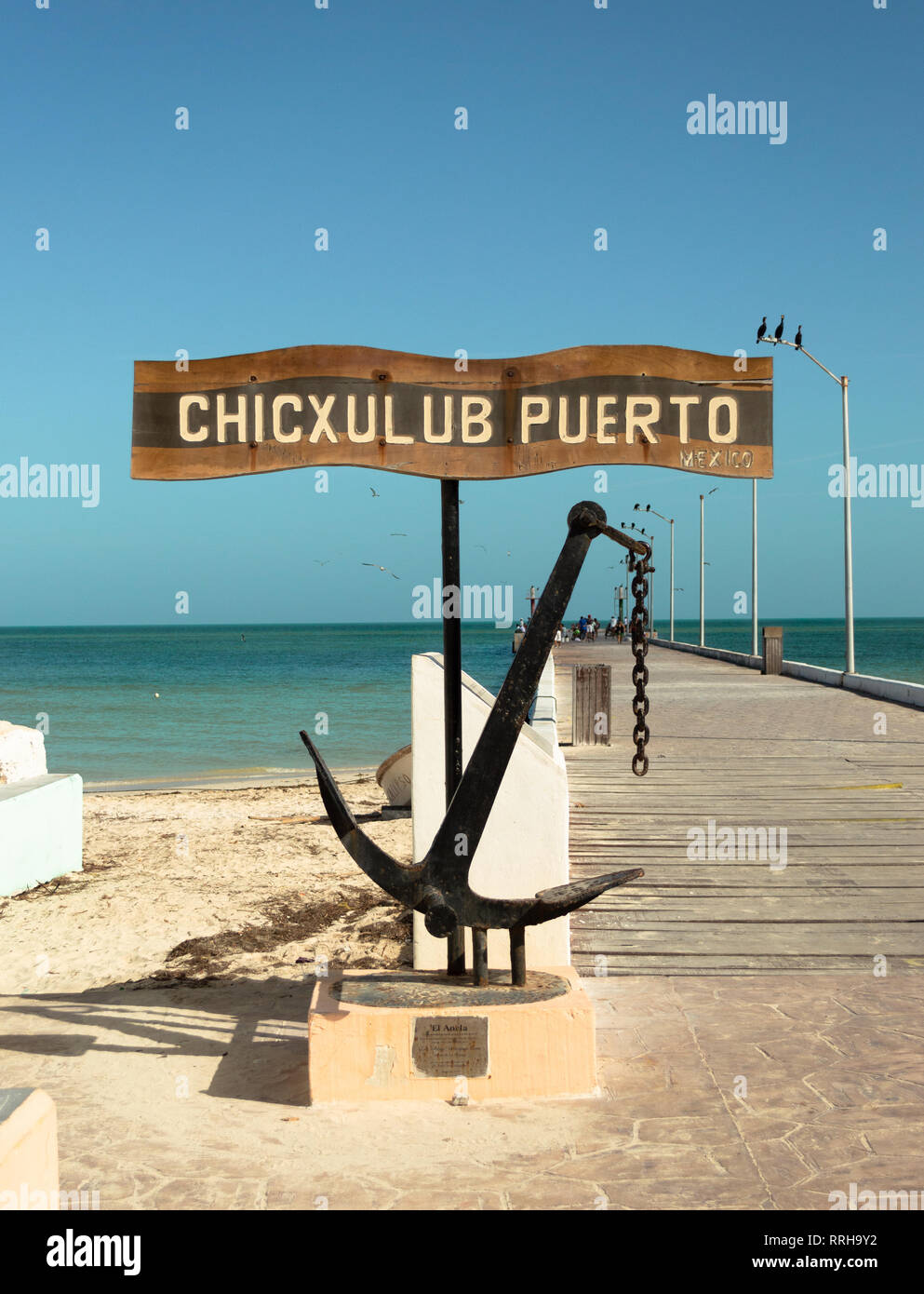 Chicxulub sign on the pier. Yucatan, Mexico. - Stock Image