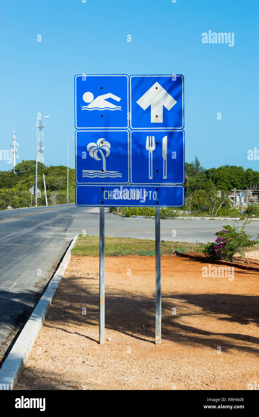 Chicxulub town sign in Yucatan, Mexico Stock Photo