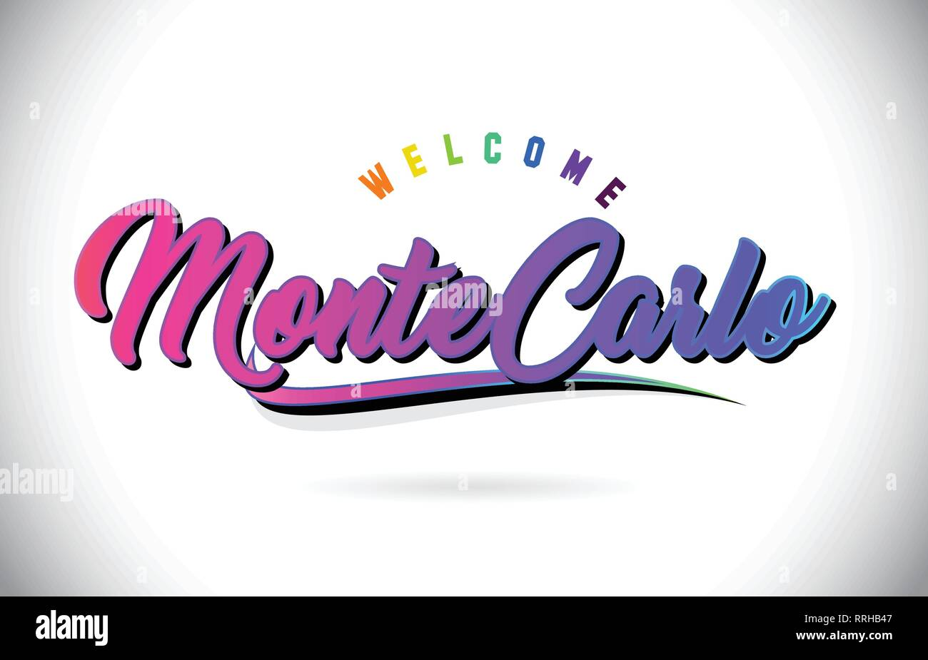 MonteCarlo Welcome To Word Text with Creative Purple Pink Handwritten Font and Swoosh Shape Design Vector Illustration. - Stock Vector