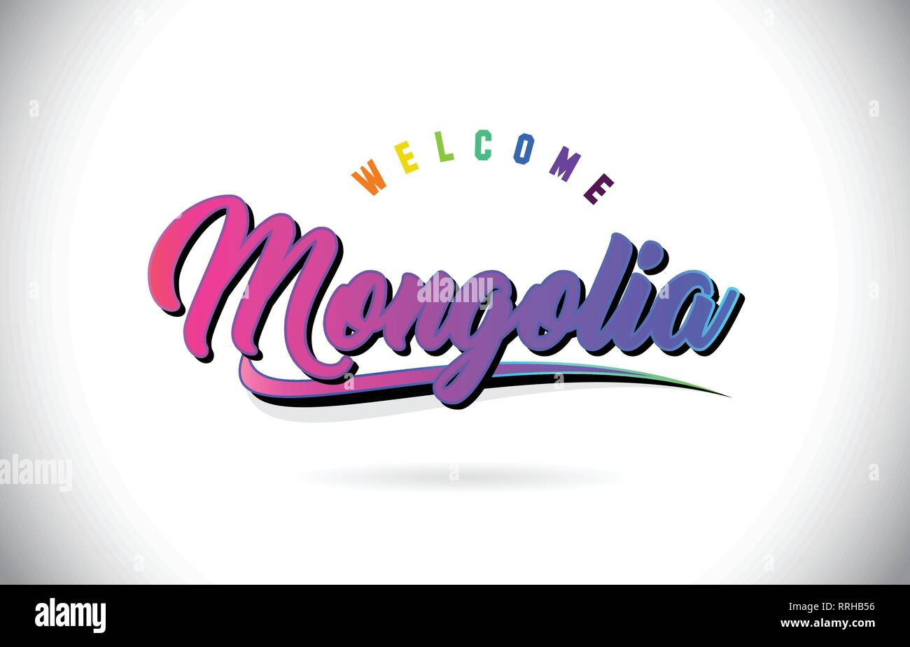 Mongolia Welcome To Word Text with Creative Purple Pink Handwritten Font and Swoosh Shape Design Vector Illustration. - Stock Vector