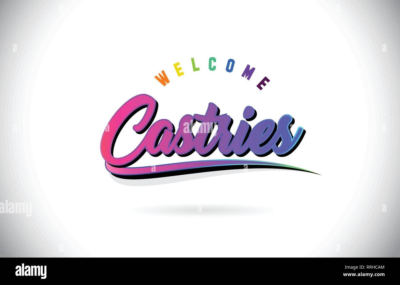Castries Welcome To Word Text with Creative Purple Pink Handwritten Font and Swoosh Shape Design Vector Illustration. - Stock Image