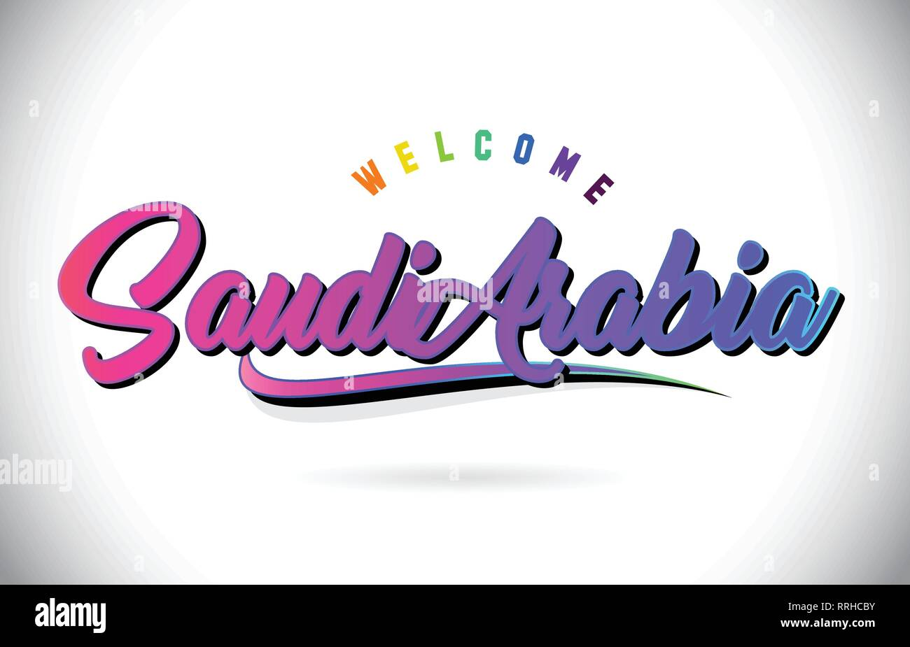 SaudiArabia Welcome To Word Text with Creative Purple Pink Handwritten Font and Swoosh Shape Design Vector Illustration. - Stock Image