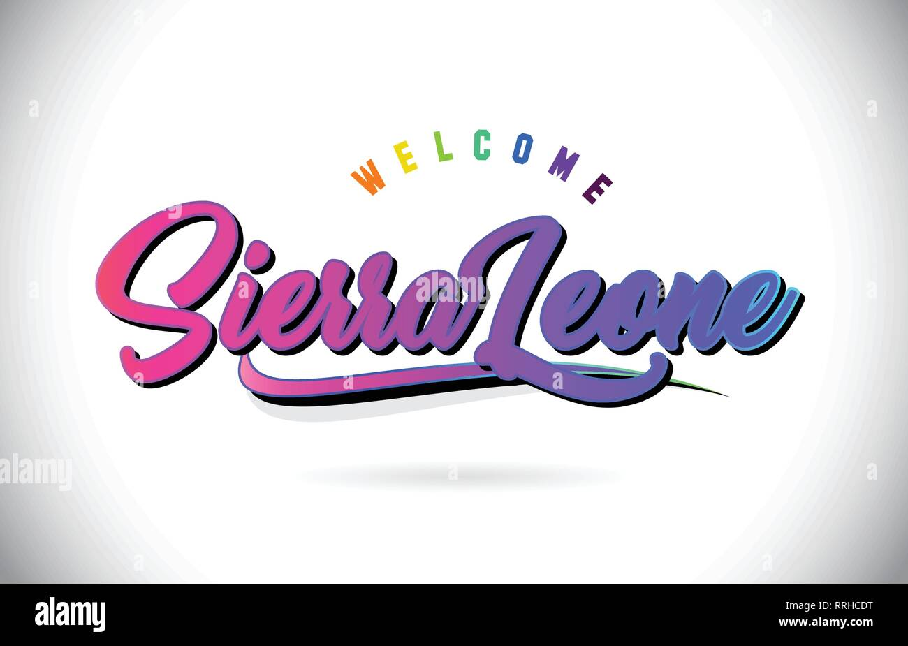 SierraLeone Welcome To Word Text with Creative Purple Pink Handwritten Font and Swoosh Shape Design Vector Illustration. Stock Vector