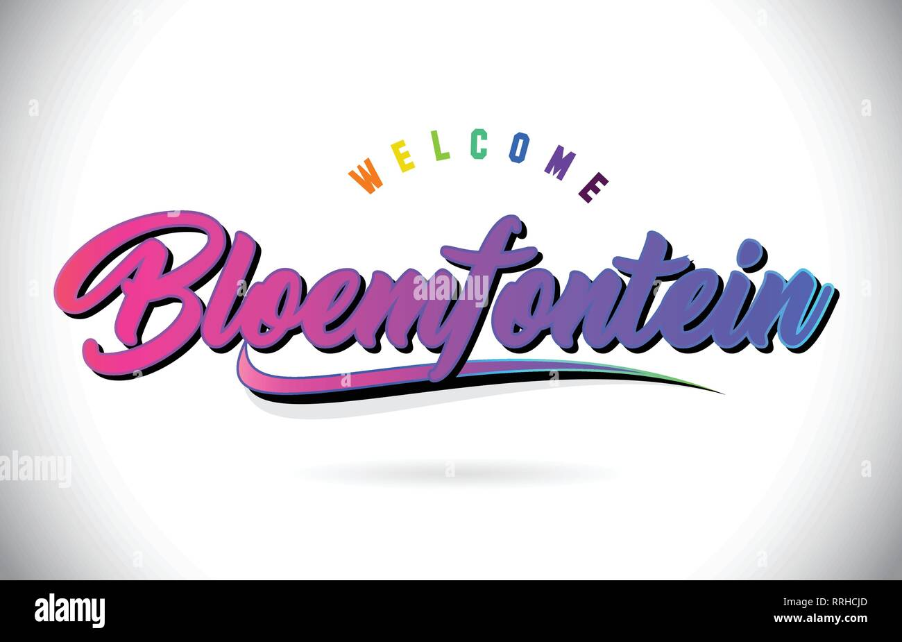 Bloemfontein Welcome To Word Text with Creative Purple Pink Handwritten Font and Swoosh Shape Design Vector Illustration. - Stock Image
