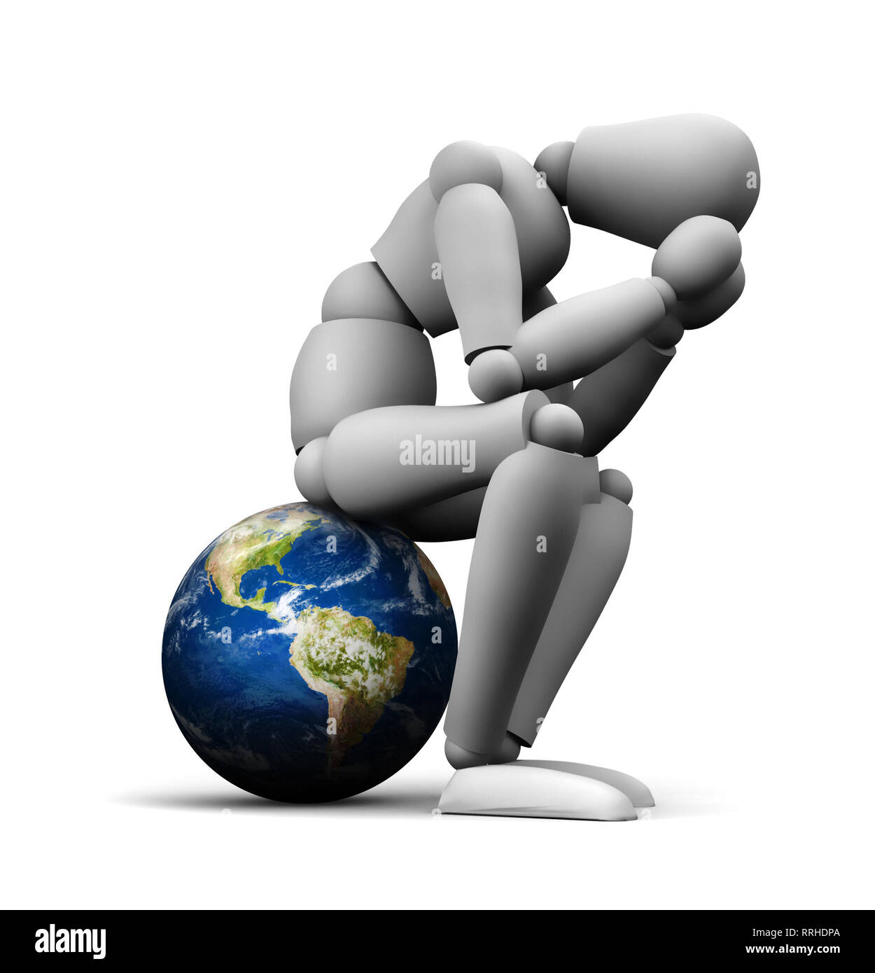 3D illustration of person sitting on Earth globe holding head in hands. - Stock Image