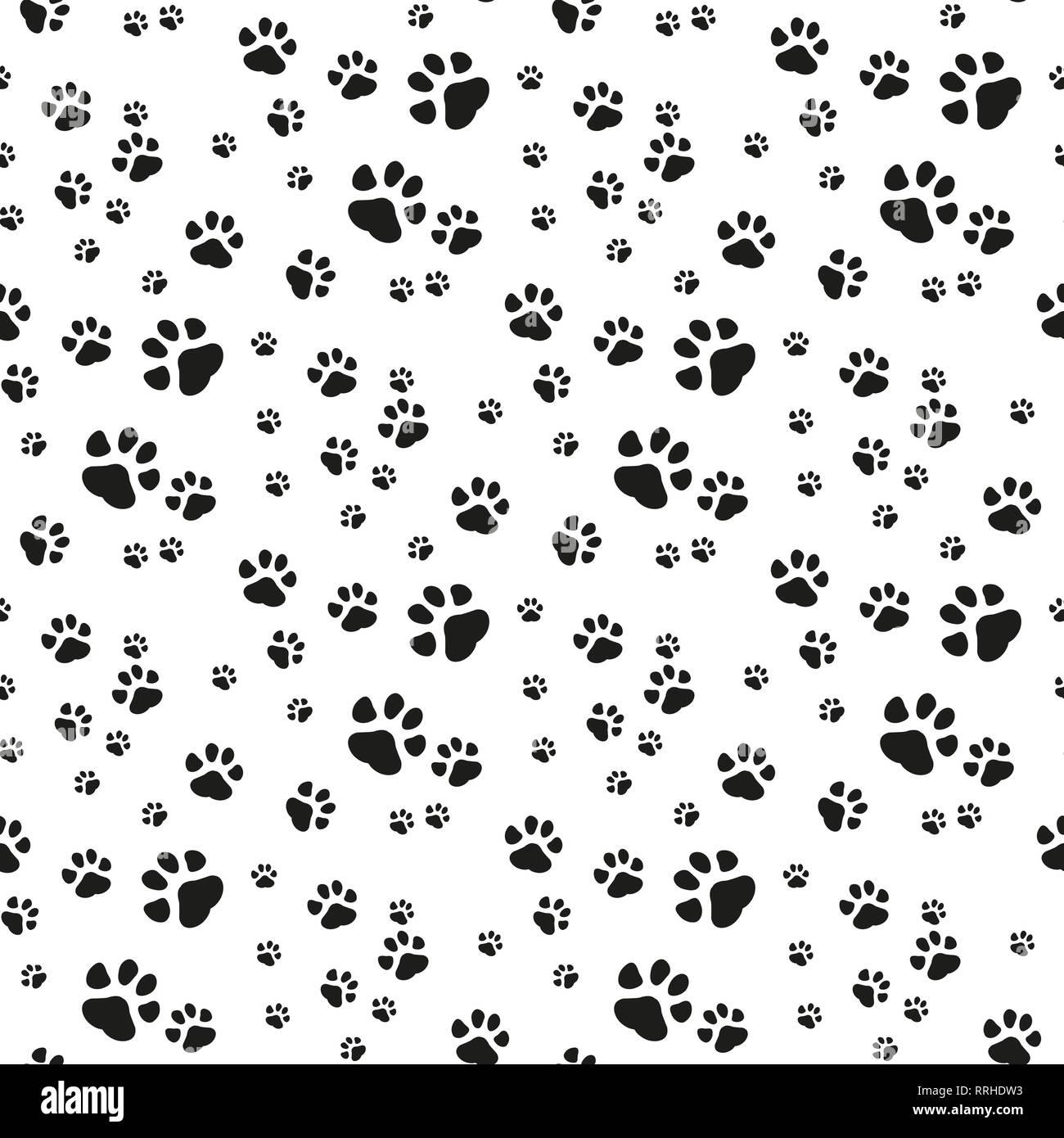 Dog Paw Seamless Pattern Vector Footprint Kitten Puppy Tile Background Repeat Wallpaper Cartoon Isolated Illustration White Vector Illustration Eps Stock Vector Image Art Alamy